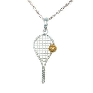 Silver Tennis Racket  14k  Ball Charm Necklace